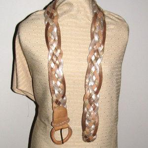 Hollister tan silver bronze braid leather belt M/L